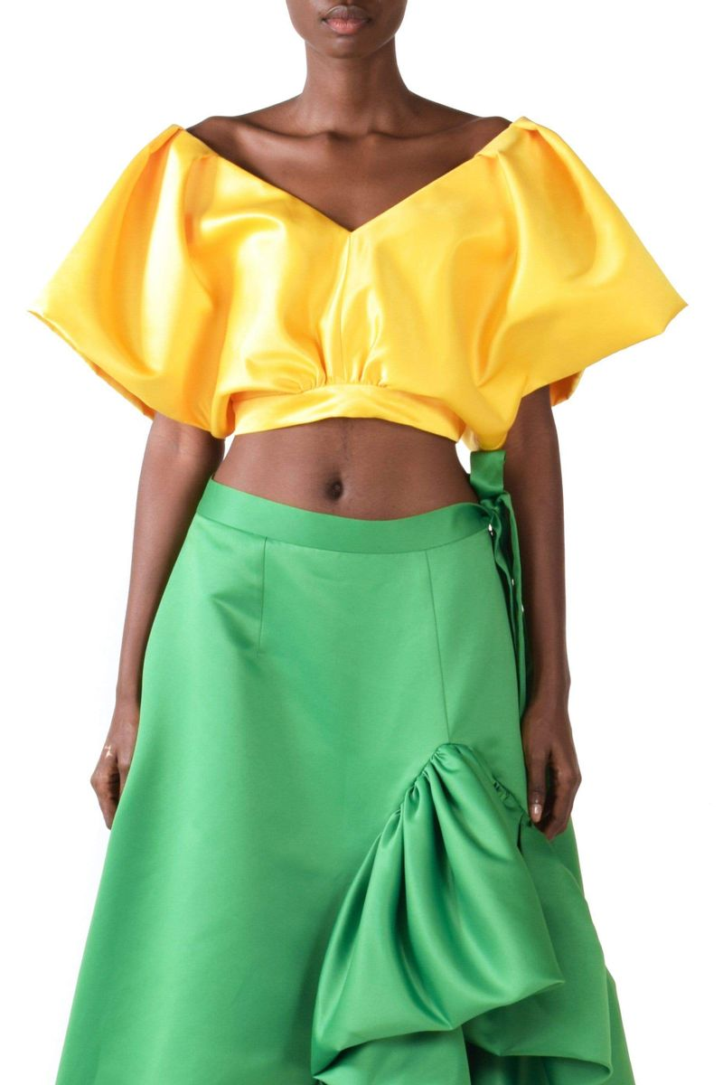 Yellow V-neck Cropped Top - BYTRIBUTE