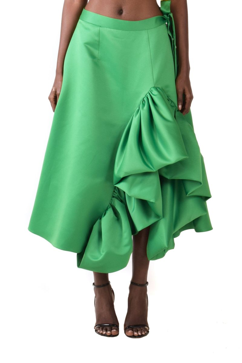 Green Midi A-line Skirt With SIde Ruffles - BYTRIBUTE