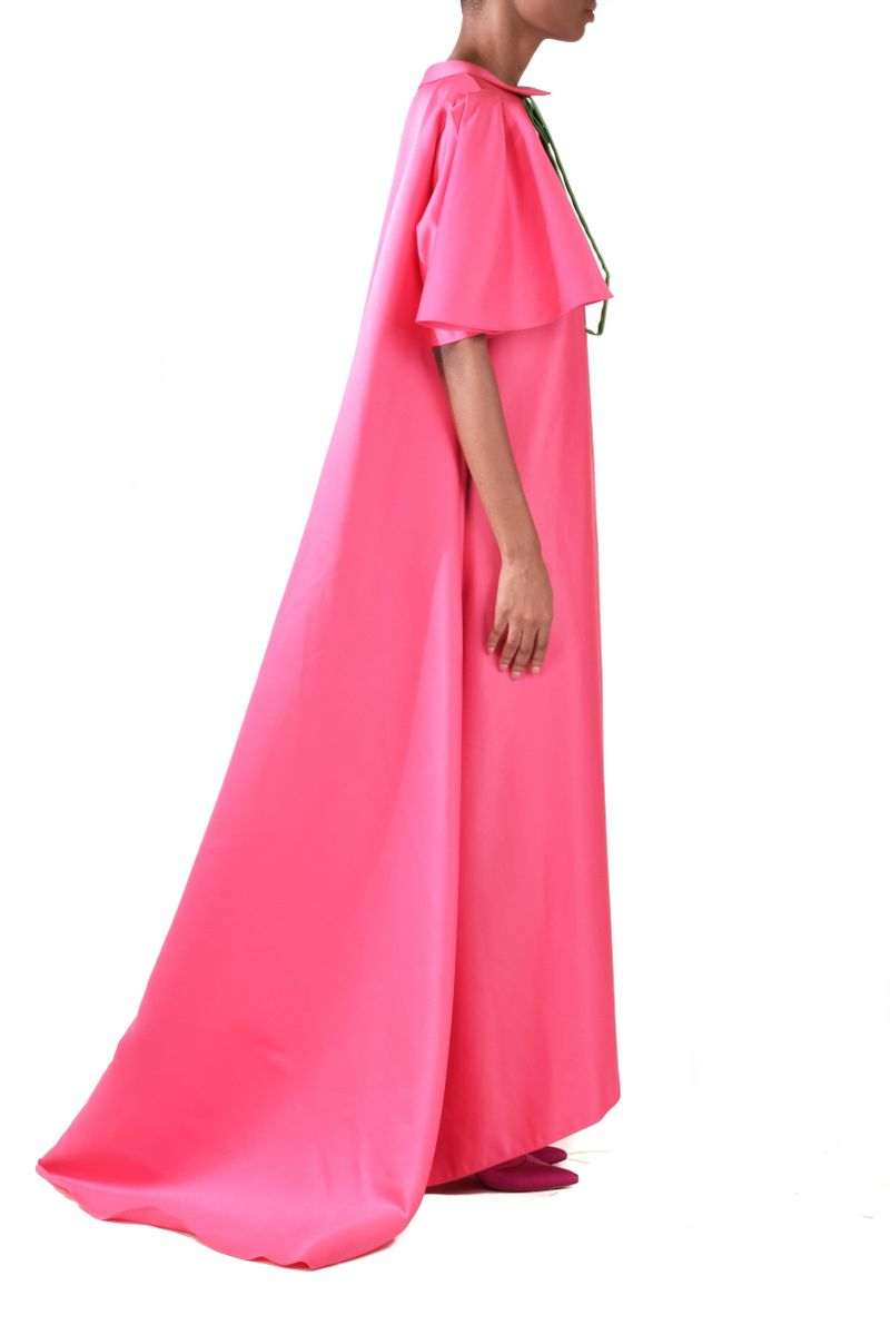 Pink Short Sleeves Satin Taffeta Dress - BYTRIBUTE