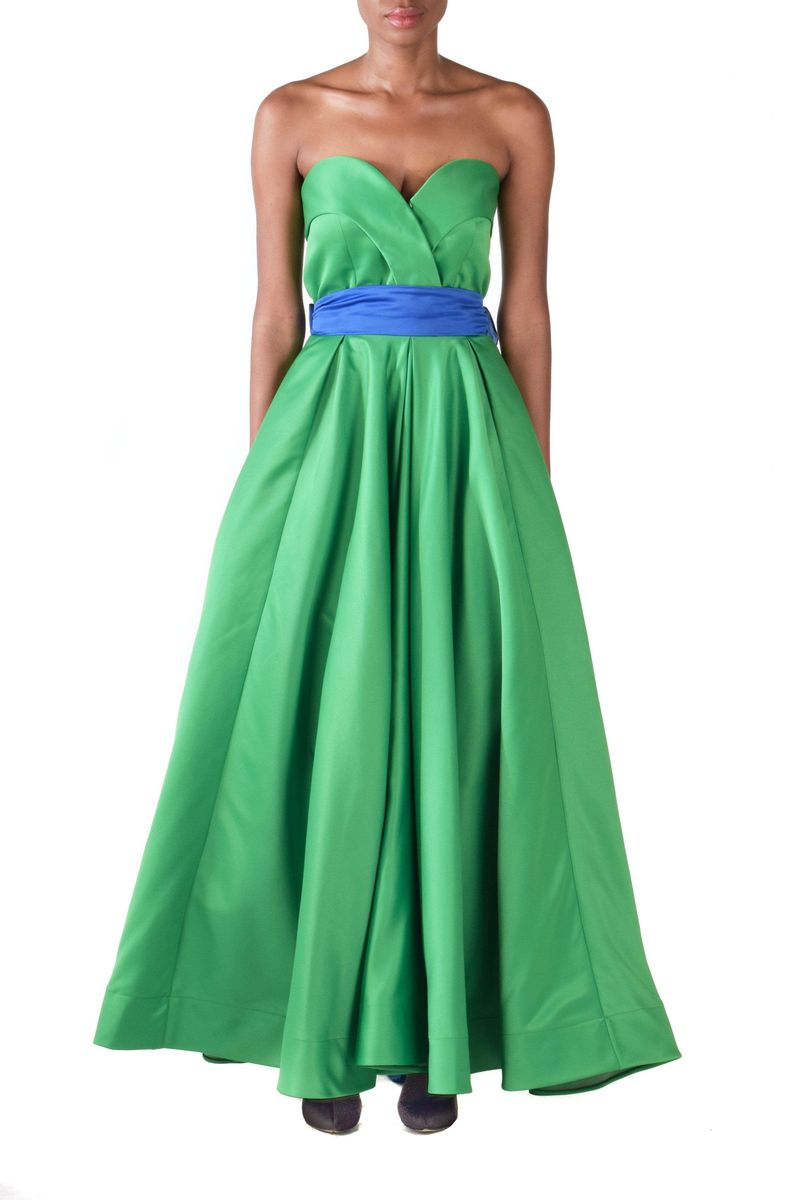Long Green Ruffled Dress With Blue Detachable Belt - BYTRIBUTE