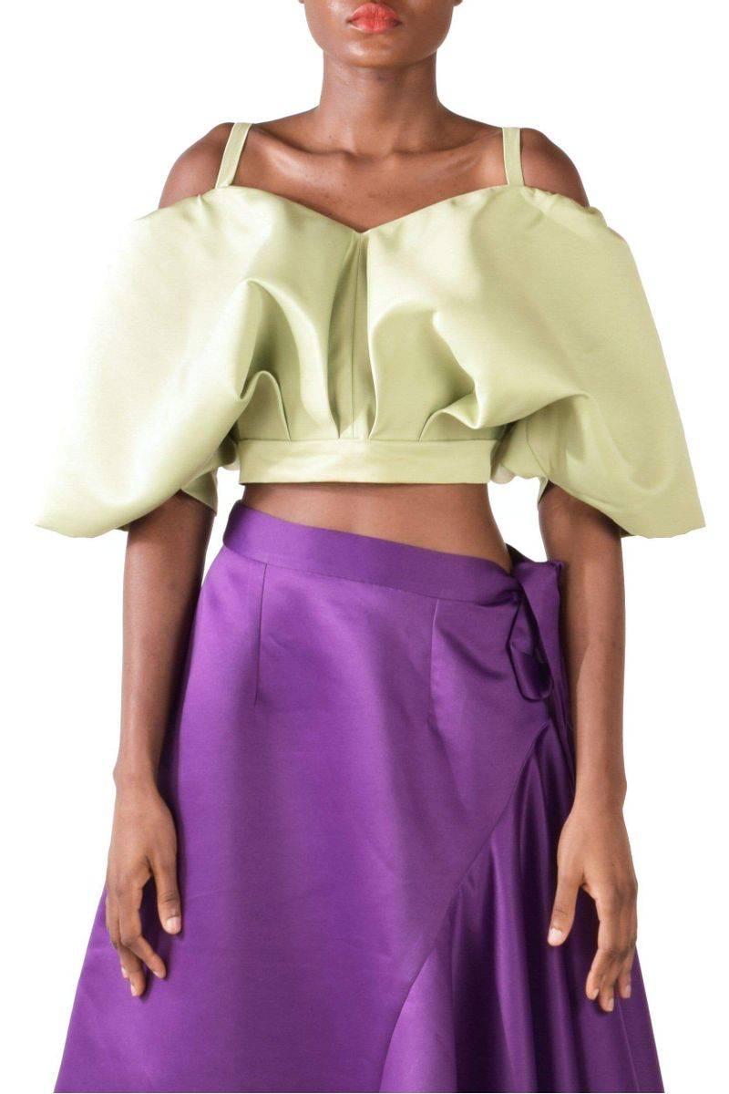 Lime Green Satin Taffeta Cropped Tank Top - BYTRIBUTE