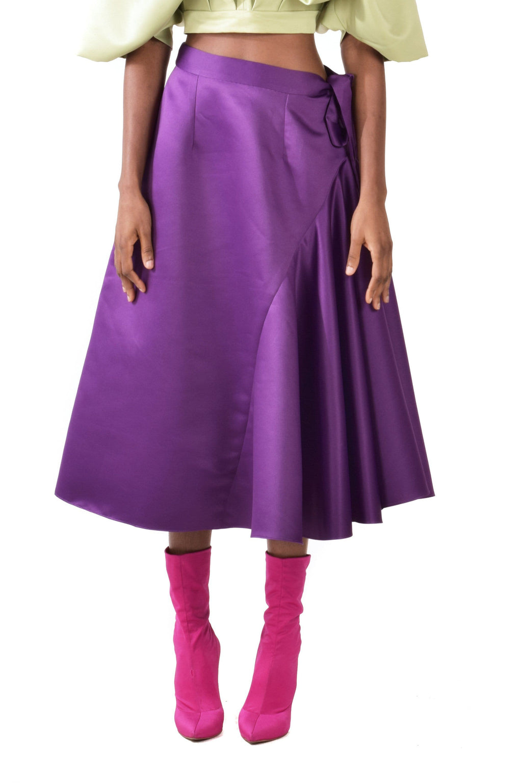 Midi A-line Purple Skirt With Ruffles - BYTRIBUTE