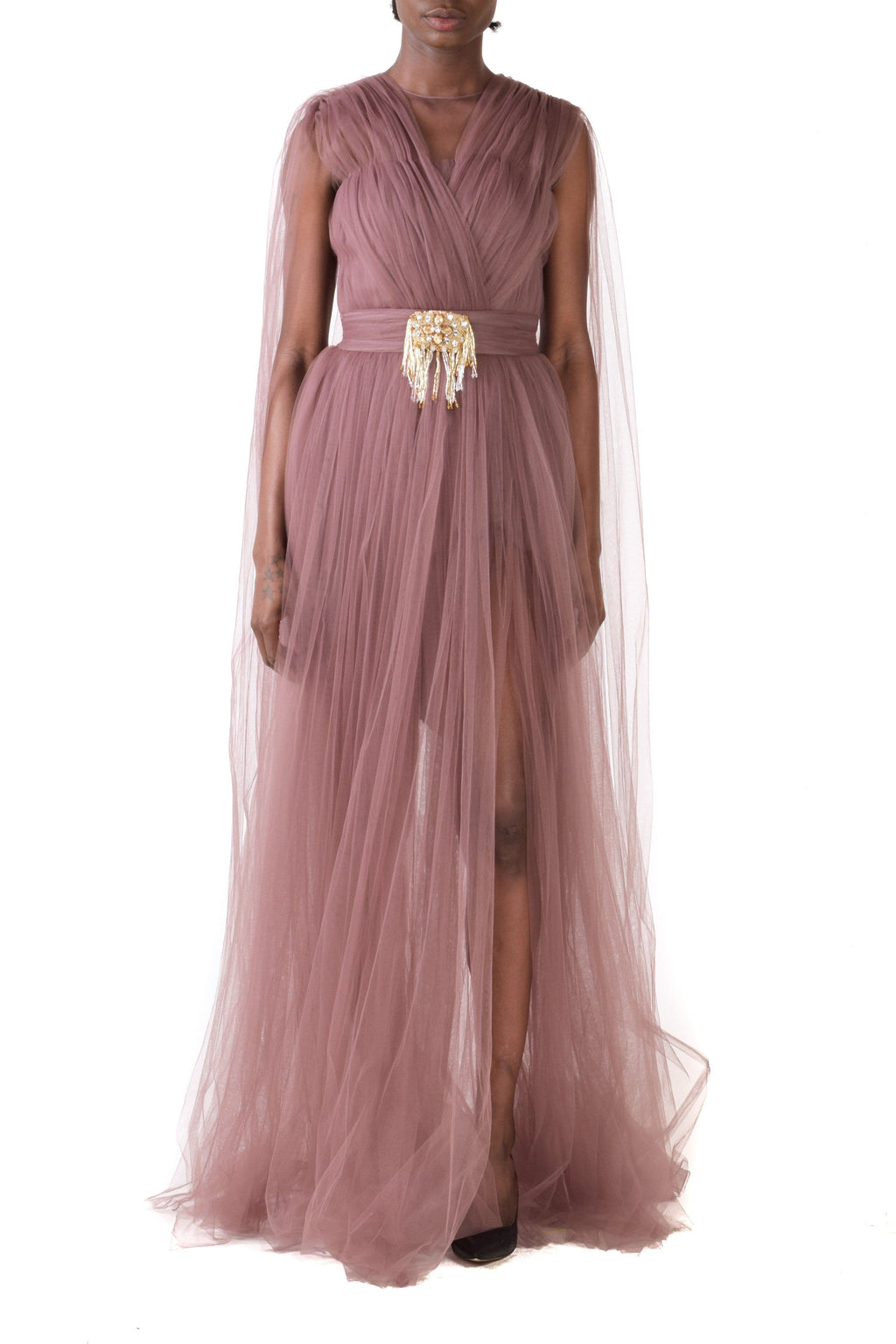 Brown Embellished Crystals & Fringes Tulle Gown With Ruffles & Puff Sleeves - BYTRIBUTE