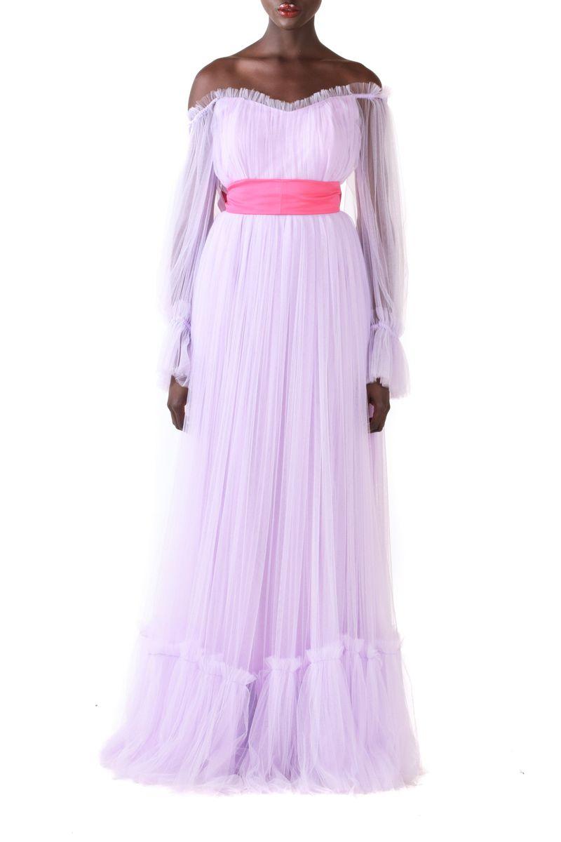 Lavender Off Shoulder Ruffled Tulle Gown With Puff Sleeves & Pink Detachable Belt - BYTRIBUTE