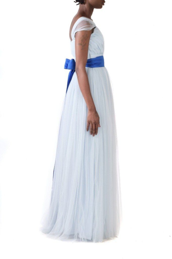 Baby Blue Tulle Gown With Detachable Blue Belt - BYTRIBUTE