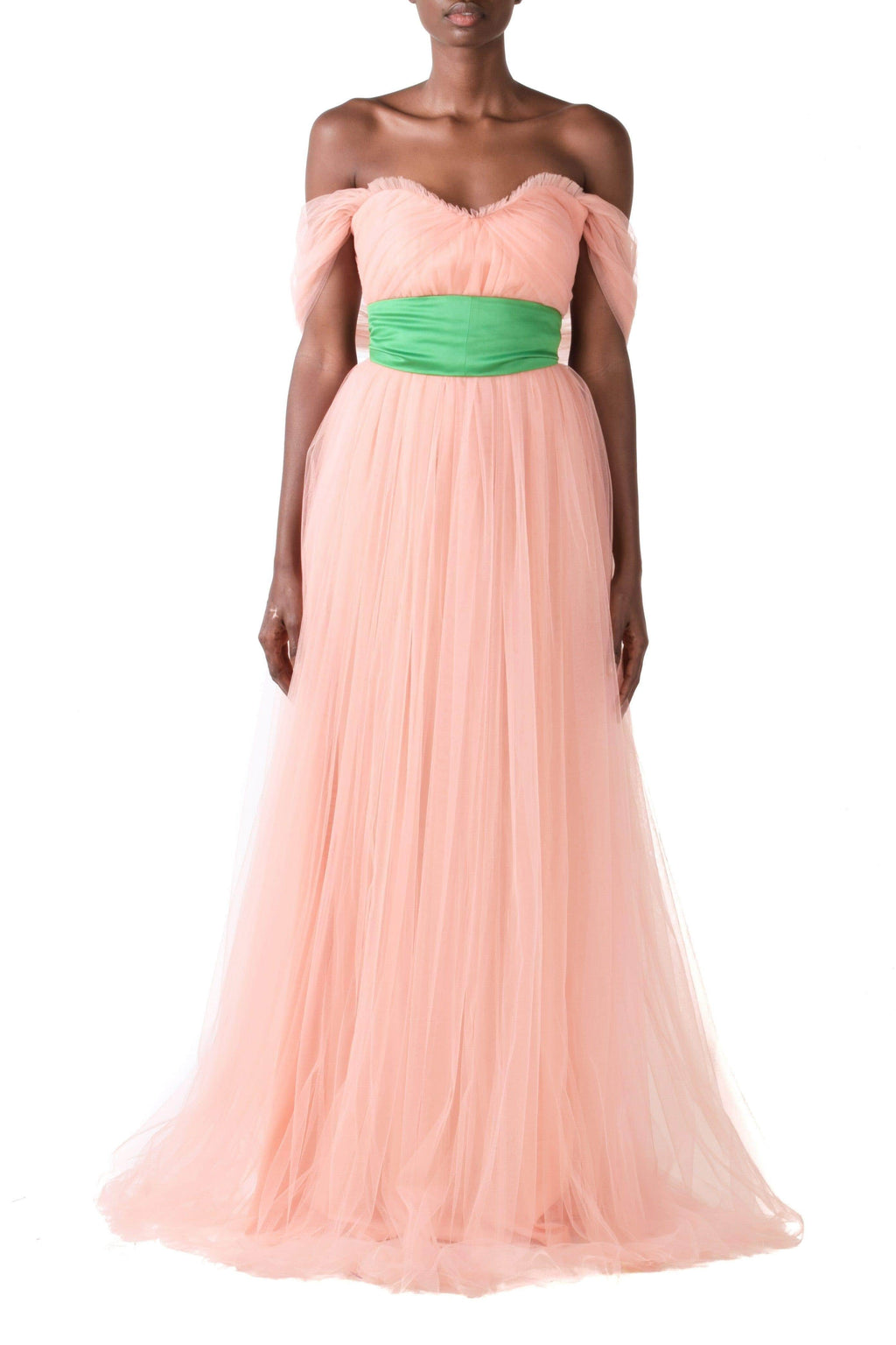 Peach Off Shoulder Tulle Gown With Shawl & Detachable Green Belt - BYTRIBUTE