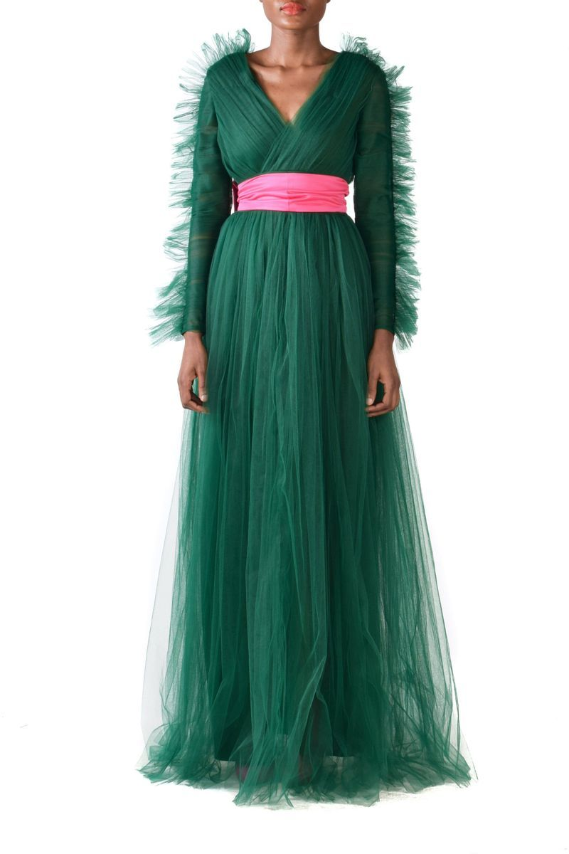 Long Sleeves Green V-neck Tulle Gown With Pink Detachable Belt - BYTRIBUTE