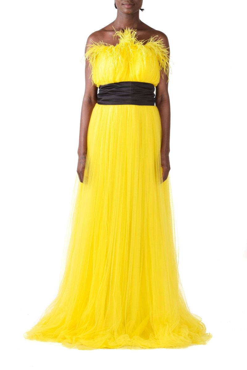 Feathered Yellow Sleeveless Tulle Gown With Black Detachable Belt - BYTRIBUTE
