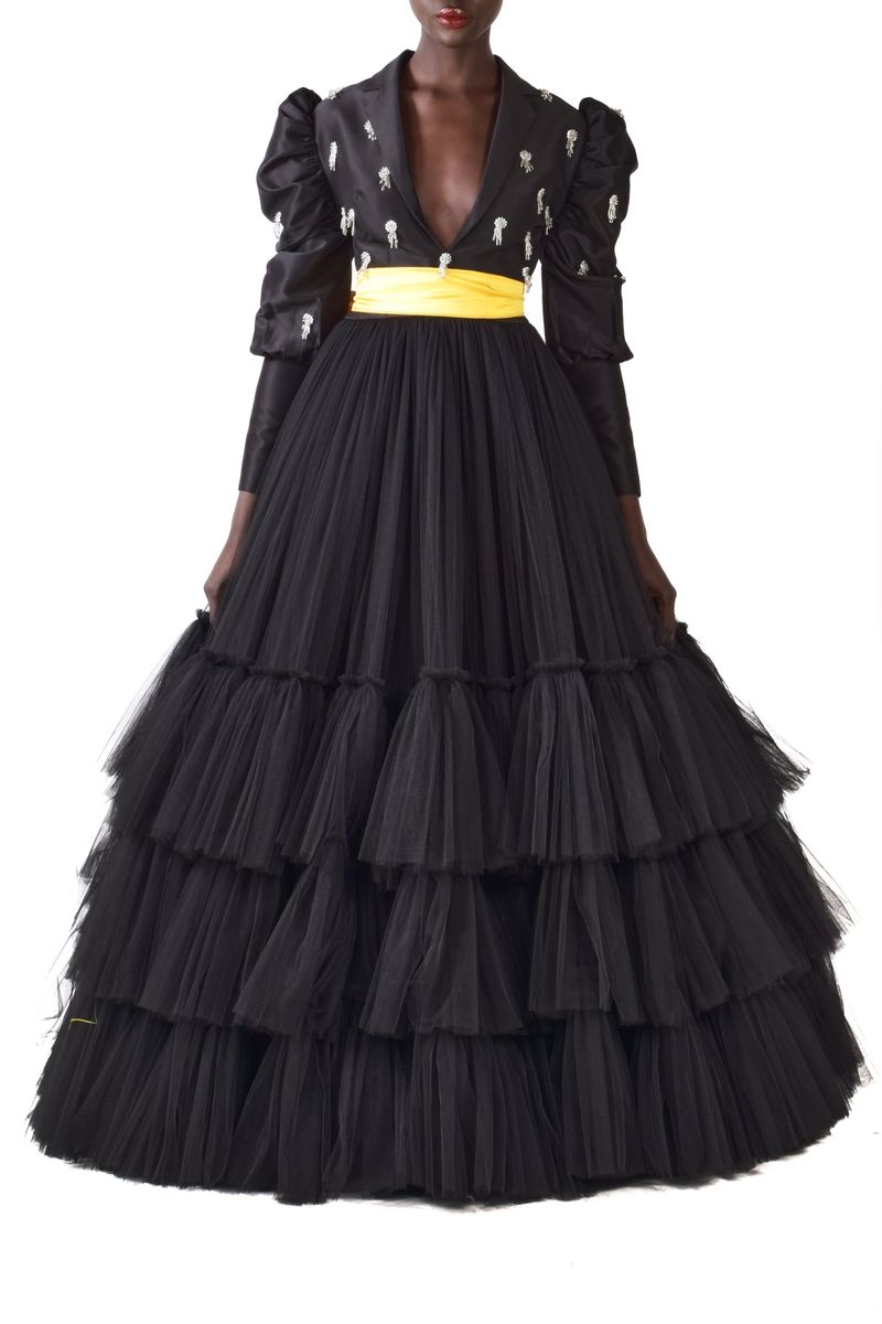 Leg of Mutton Sleeves Embellished Black Tuulle Gown With Detachable Yellow Belt - BYTRIBUTE