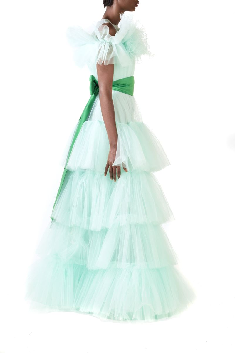 Layered Mint Green Ruffled Tulle Gown With Detachable Green Belt - BYTRIBUTE