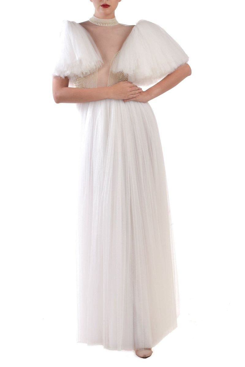 Soft Pearl embroidery flared sleeve tulle dress - BYTRIBUTE