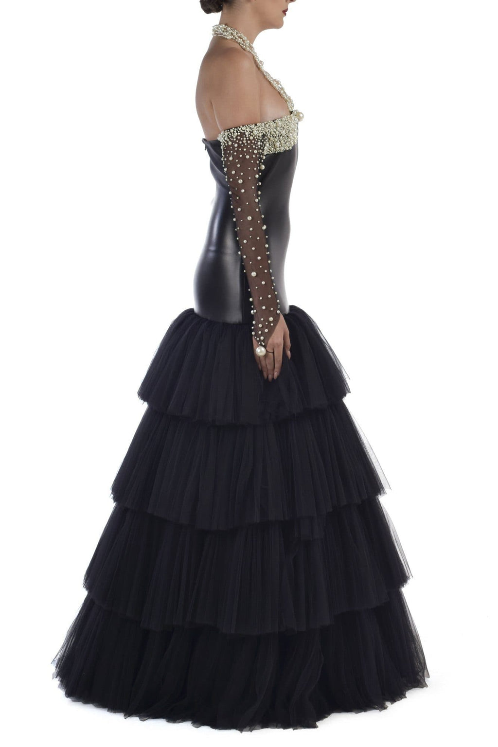 PVC Punk Style Tulle Dress With Pearl Sleeves - BYTRIBUTE