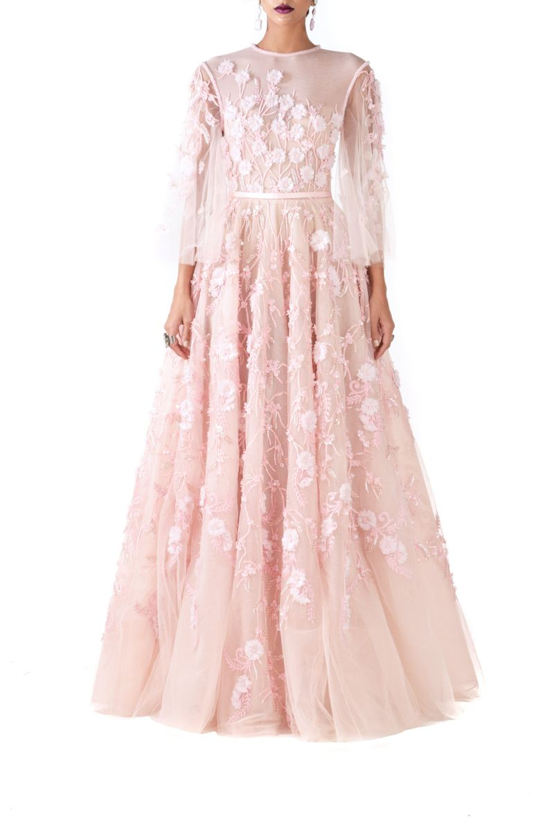 Floral Pink Tulle Ball Gown - BYTRIBUTE
