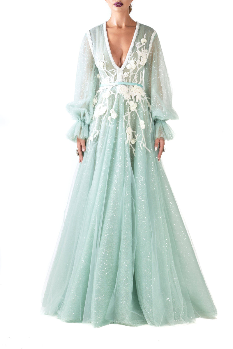 Opal Green Longsleeve Ball Gown - BYTRIBUTE