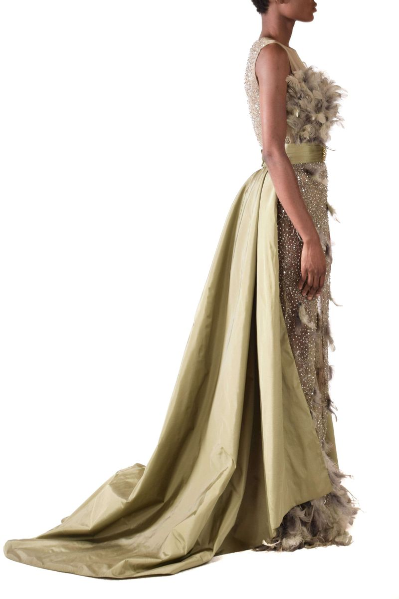 Ice grey & Georgian Green Evening Gown - BYTRIBUTE