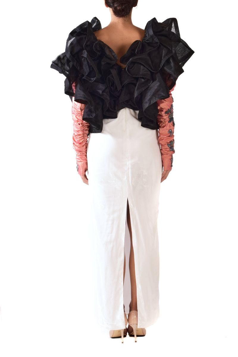 Daisy White Silk Skirt With An Oversized Ruffled Organza Top - BYTRIBUTE