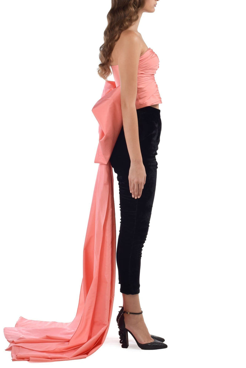 Coral Pink Draped Bowed Top With Narrow Suede Pants - BYTRIBUTE