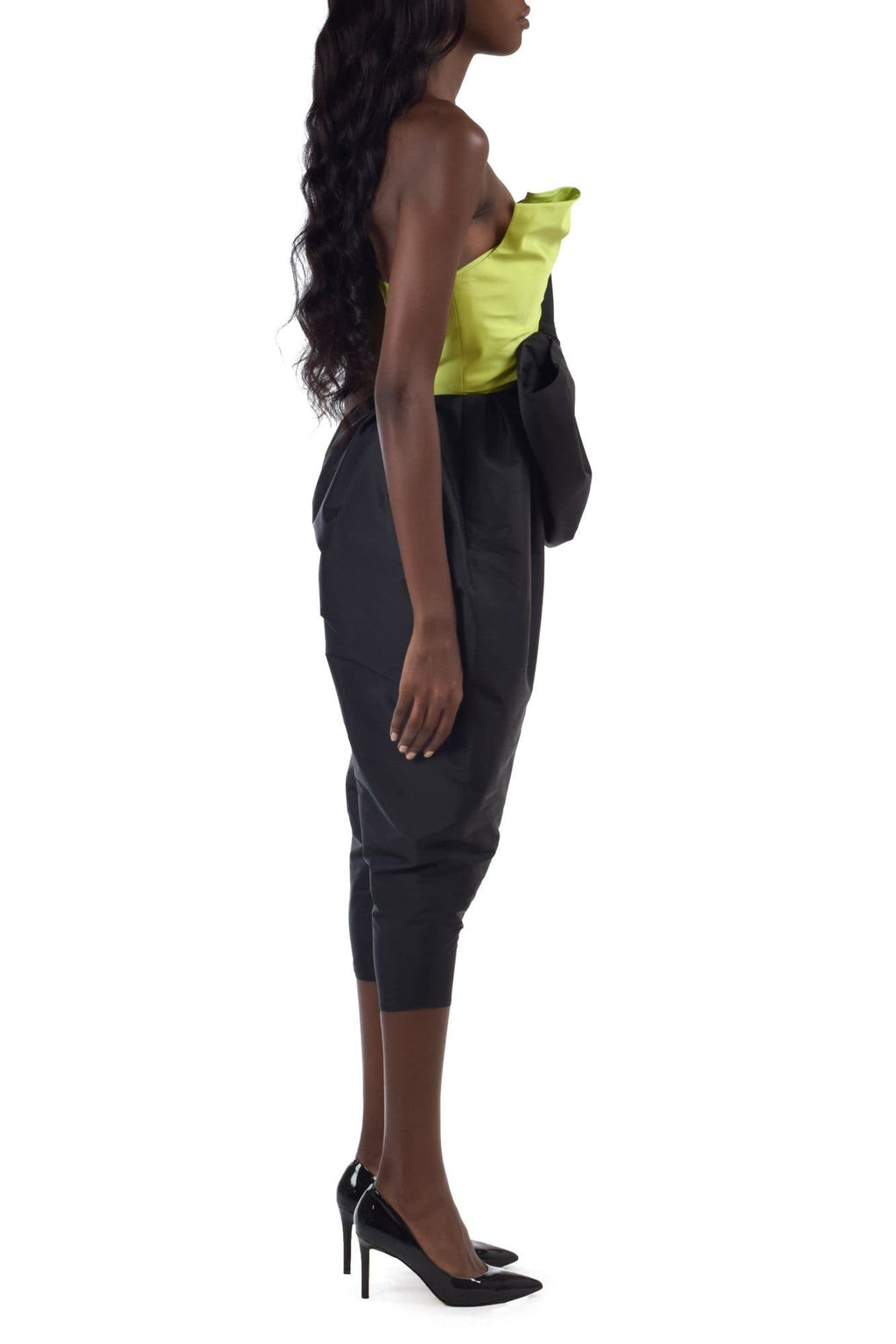 Slime Green & Deep Storm Black Jumpsuit With Oversized Bow - BYTRIBUTE