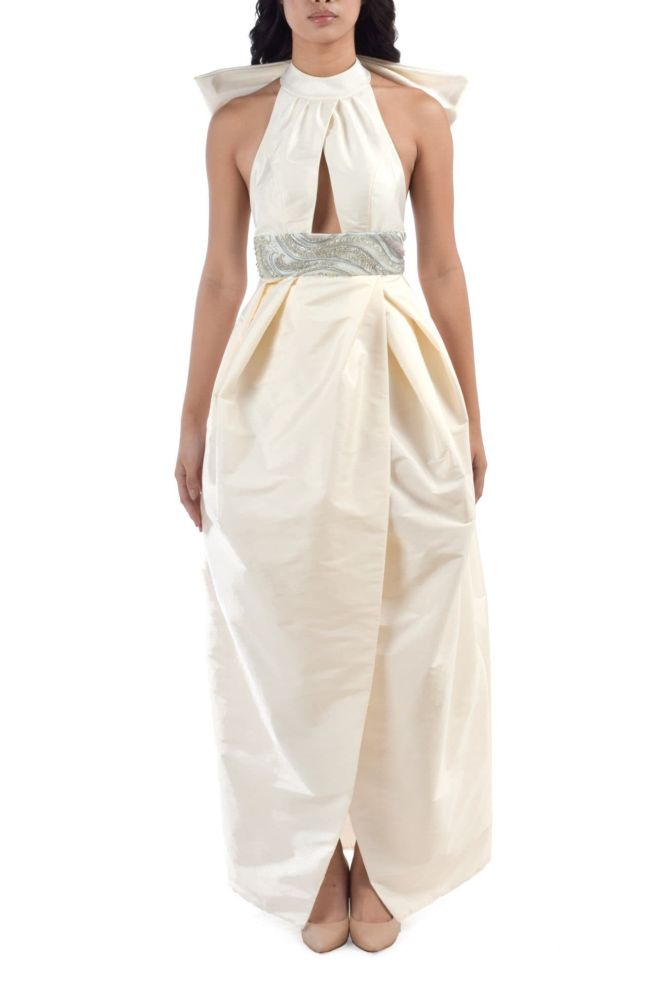 Bowed Backless Porcelain Midi Dress