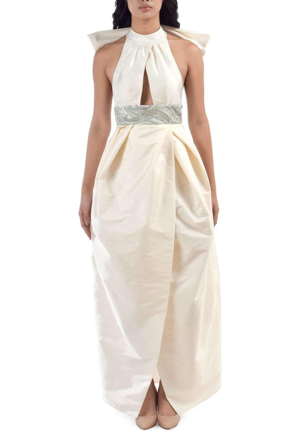 Bowed Backless Porcelain Midi Dress - BYTRIBUTE