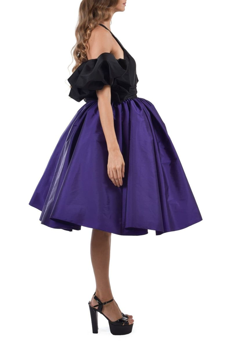 Chive Blossom Purple & Deep Smoked Black Dress With Back Embroidery - BYTRIBUTE