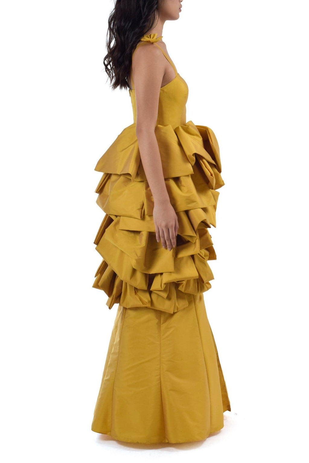 Cyber Mustard Bowed Midi Dress - BYTRIBUTE