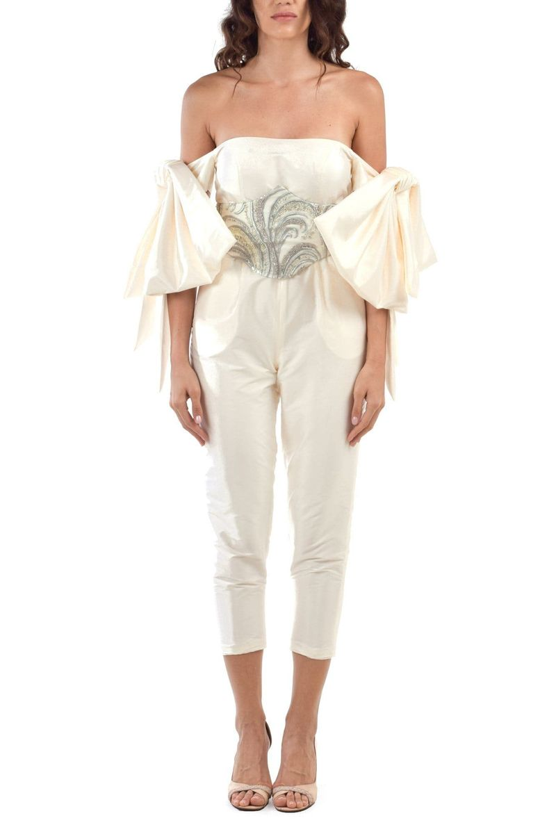 Powder White Bowed Sleeves Off Shoulders Jumpsuit With Embroidered Corset - BYTRIBUTE