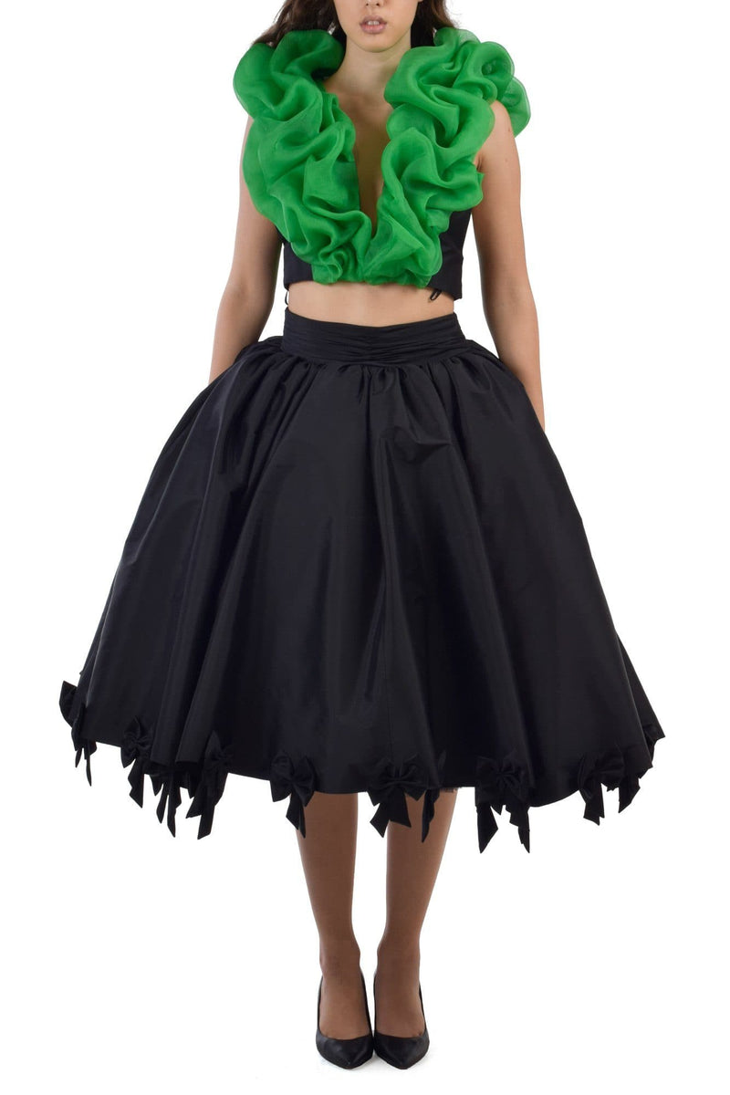 Colocasia Green Ruffled Top With Puffed Deep Black Bows Skirt - BYTRIBUTE