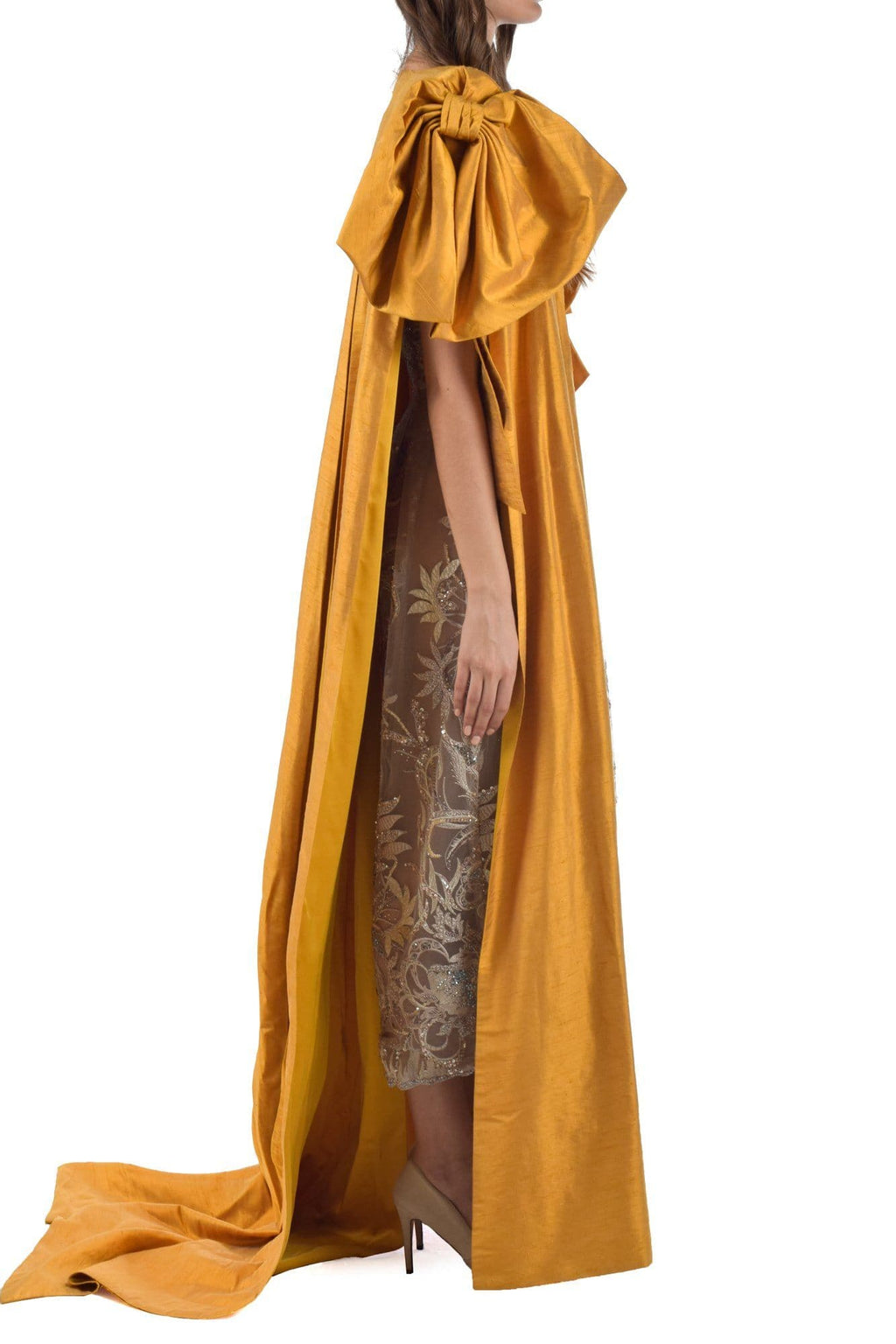 Clivia Fully Embroiderd Strapless Jumpsuit With Tuscany Yellow Bow Cape - BYTRIBUTE
