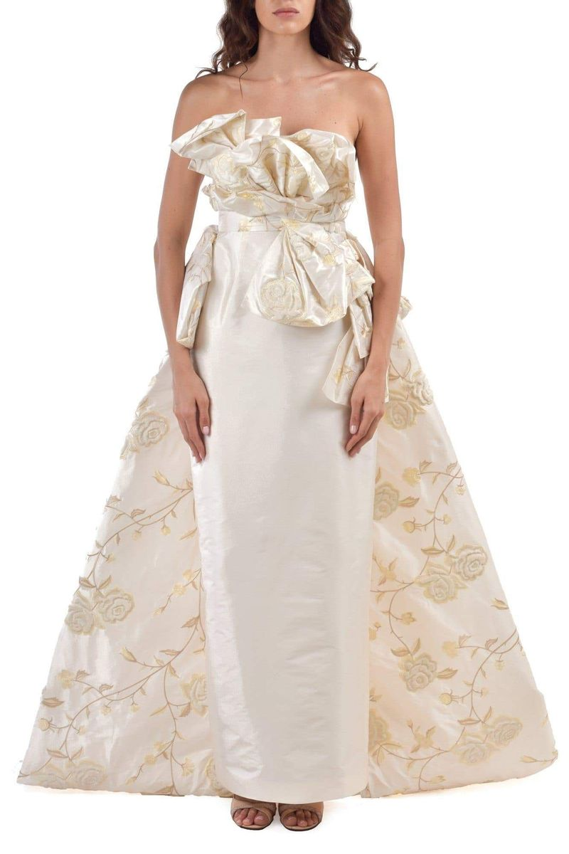 Daisy Bowed Strapless 3D Wedding Dress - BYTRIBUTE