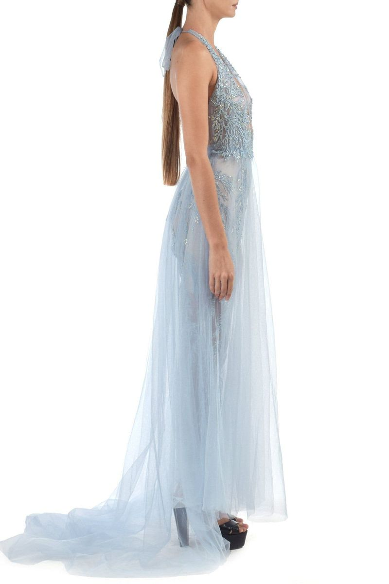 Jamila Semi Transparent Fully Embroidered Jumpsuit With Sparkly Beadwork With Attached Mesh Skirt