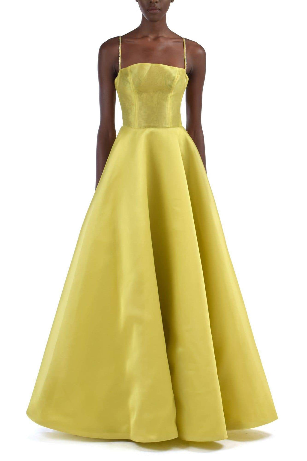 Sada Minimalist Ballgown Dress With Beaded Straps - BYTRIBUTE
