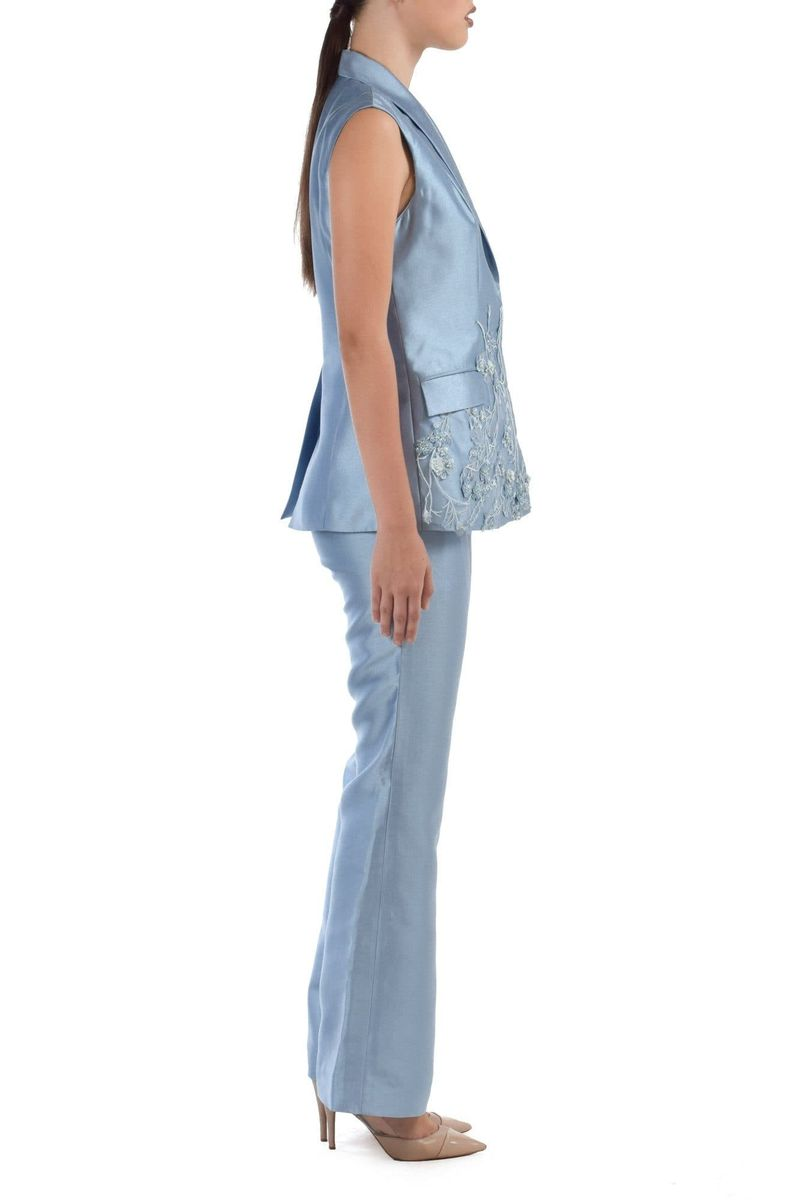 Zaida Pants Suit With Beaded Lace Applique - BYTRIBUTE
