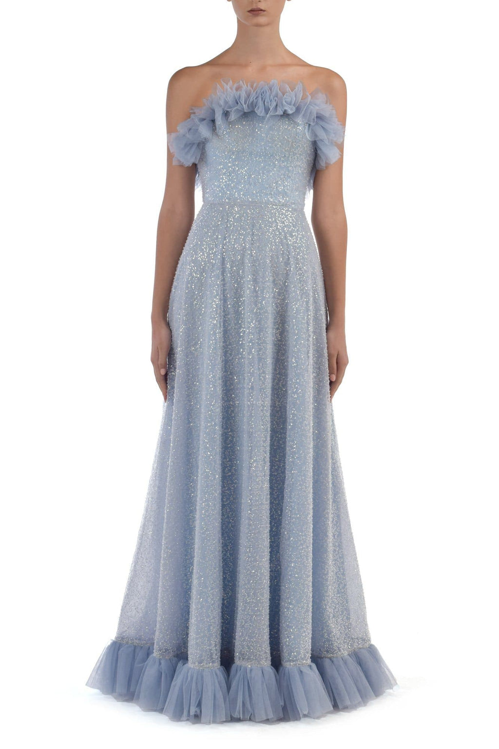 Nakia Beaded Lace In Powder Blue With Ruffles Around The Chest & Hem - BYTRIBUTE