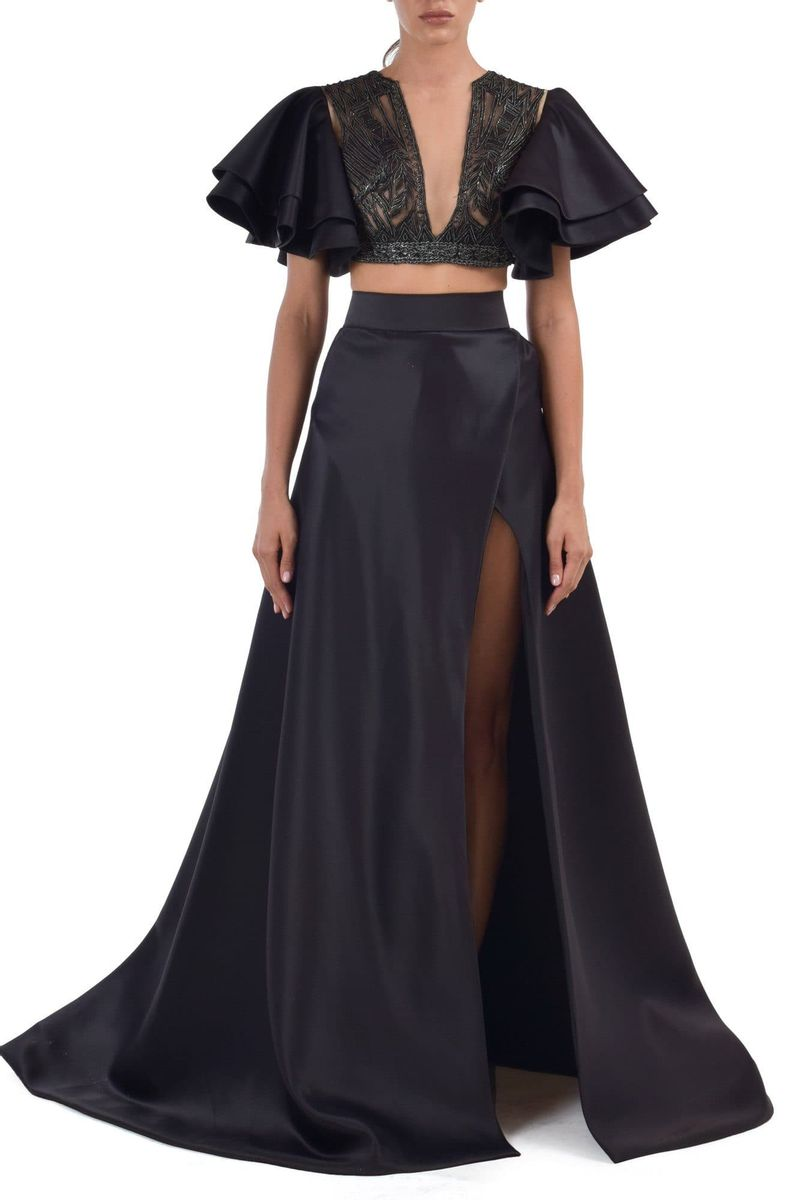 Asha Fitted Plunging Deep V Neckline With High Slit A-line Skirt