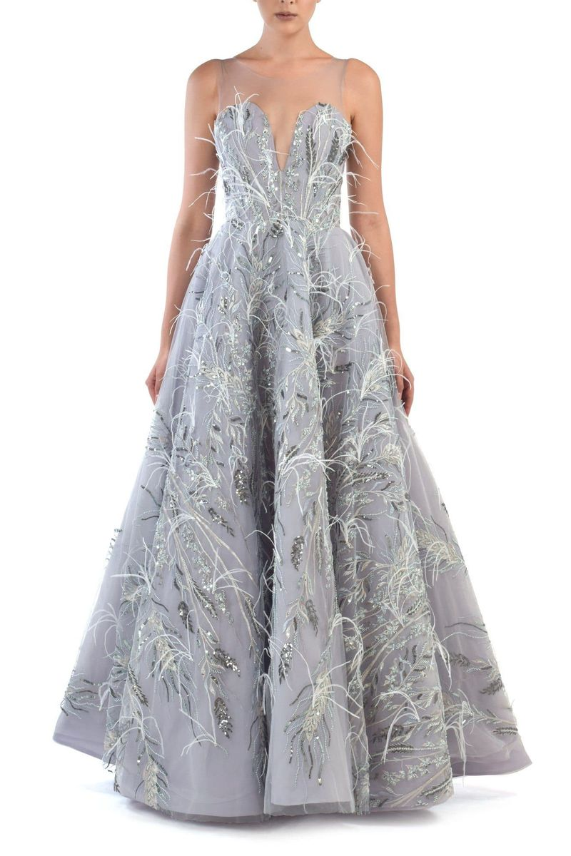 Ambra Fully Beaded Ball Gown With Ostrich Feathers - BYTRIBUTE