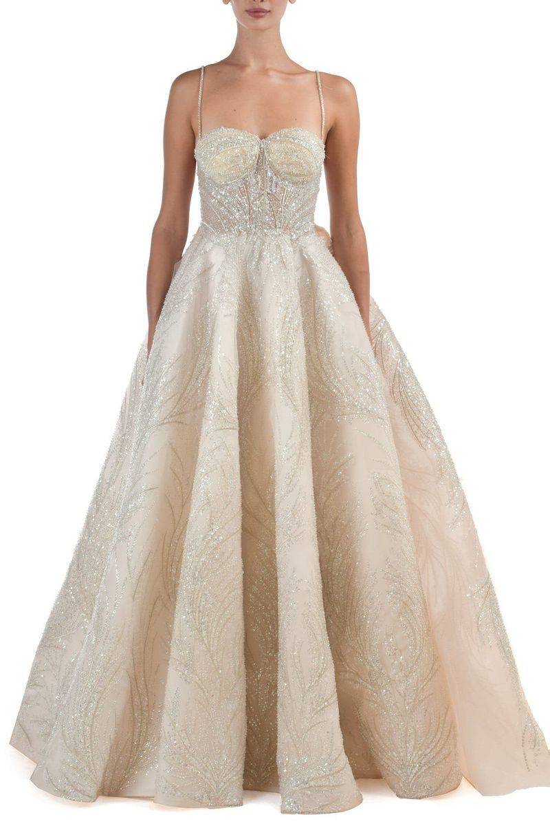Zeinab Sparkly Sweetheart Neckline White Gown With Glitterring Beadwork With Detachable Skirt