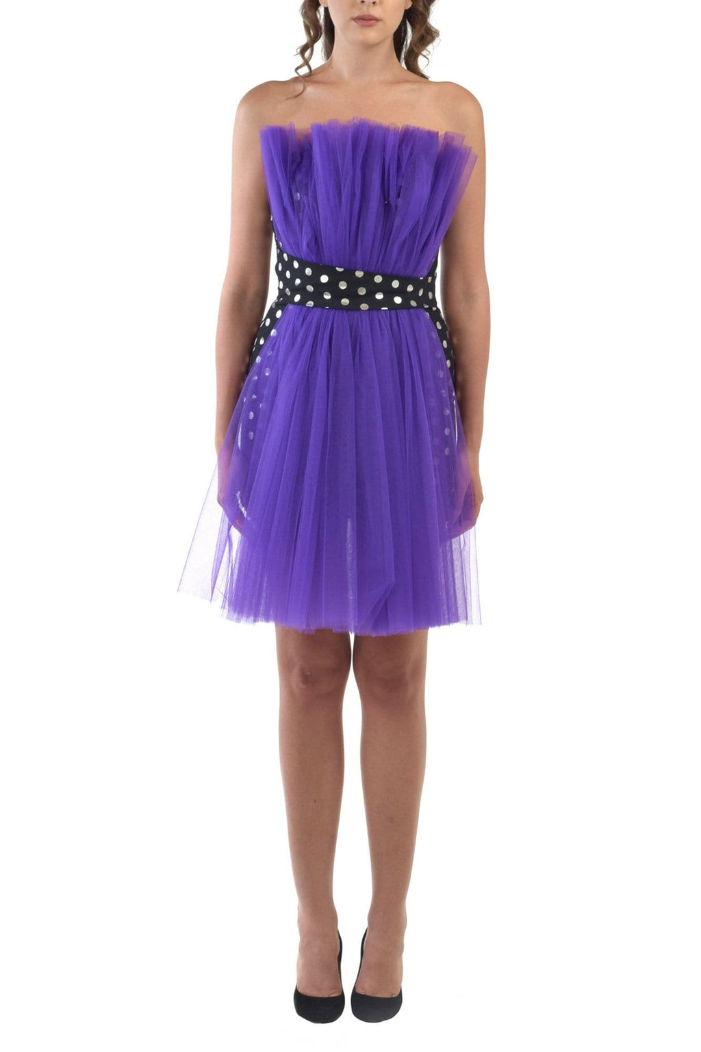 Mini Dress With Purple Tulle Detailing - BYTRIBUTE