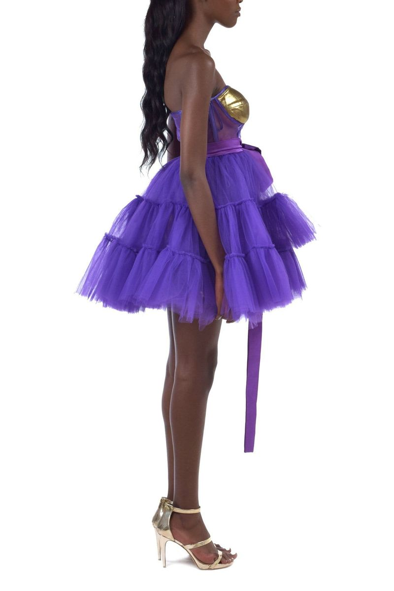 Purple Tulle Mini Dress