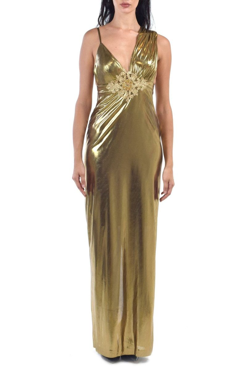 Gold Asymmetric Sleeves Metallic Dress - BYTRIBUTE