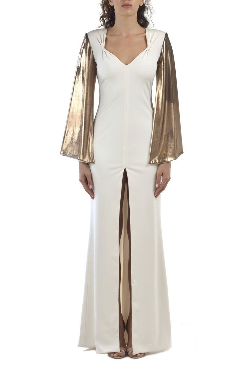 Long White Dress With Gold Sleeves - BYTRIBUTE