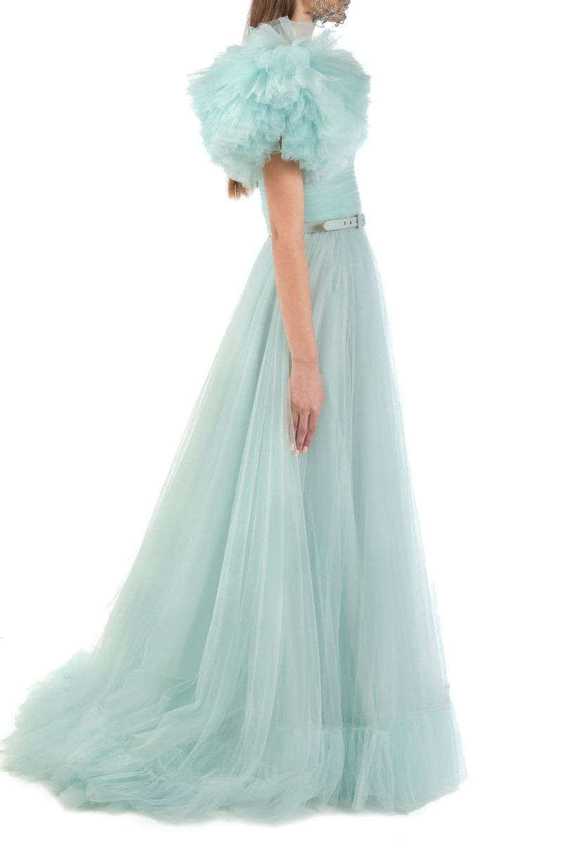 Aqua Tulle Dress With Ruffle Sleeves