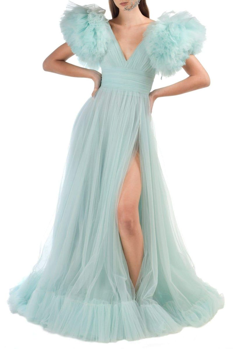 Aqua Tulle Dress With Ruffle Sleeves - BYTRIBUTE