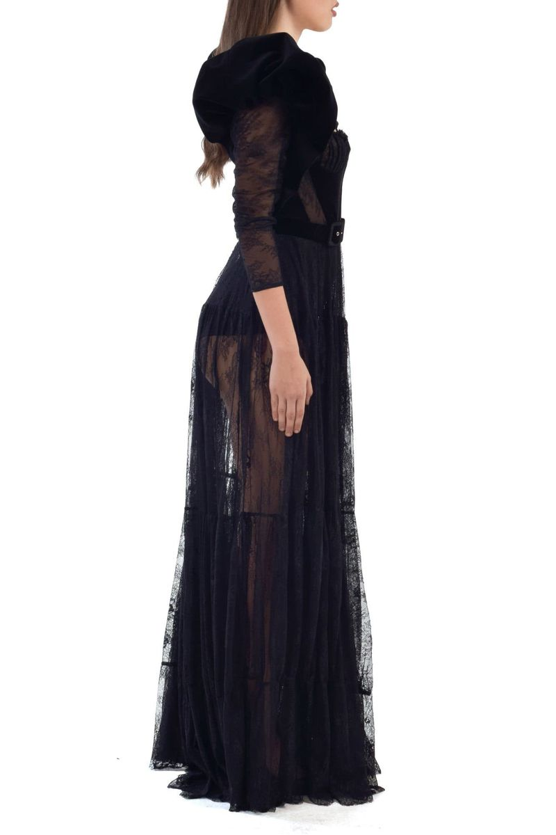 Black Lace Dress With Velvet Sleeves & Details - BYTRIBUTE