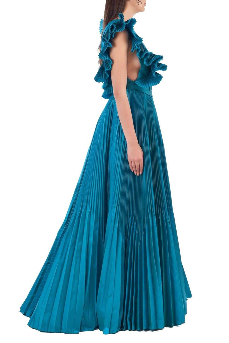 Blue Princess Pleated Dress With Ruffled Sleeves - BYTRIBUTE