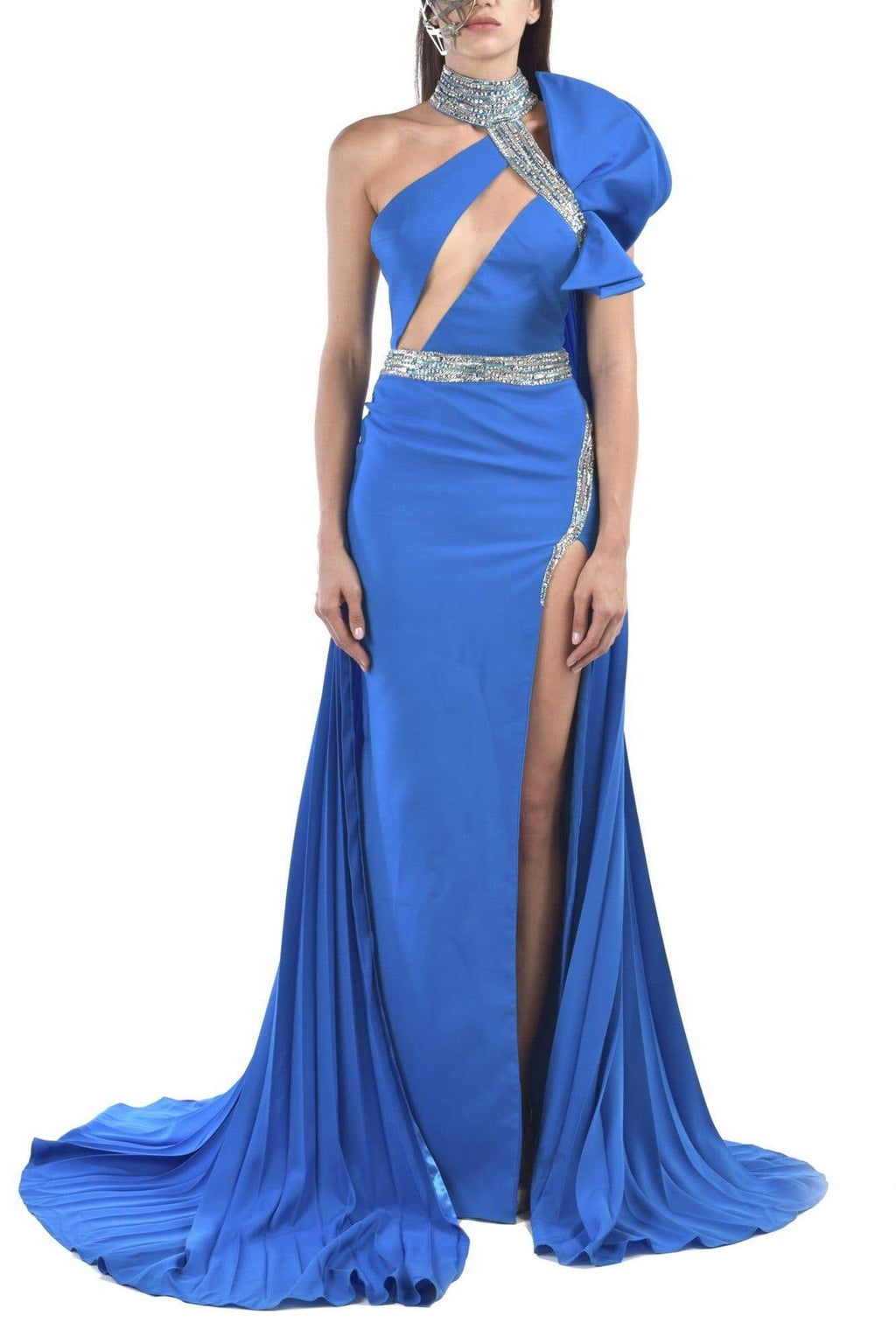 Crepe Blue Embroidered Dress With Pleated Beckline Cape - BYTRIBUTE