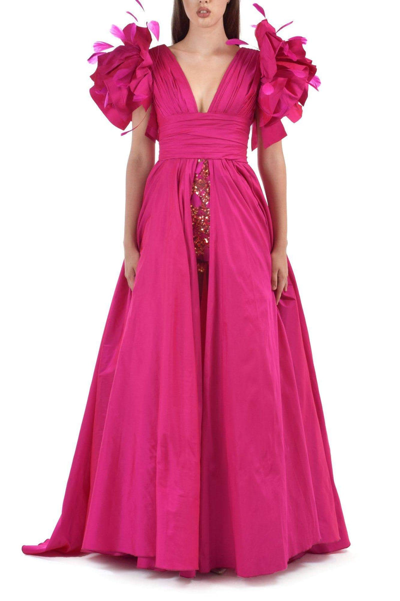 Fuchsia Princess Taffeta Dress With Embroidered Tulle Skirt - BYTRIBUTE