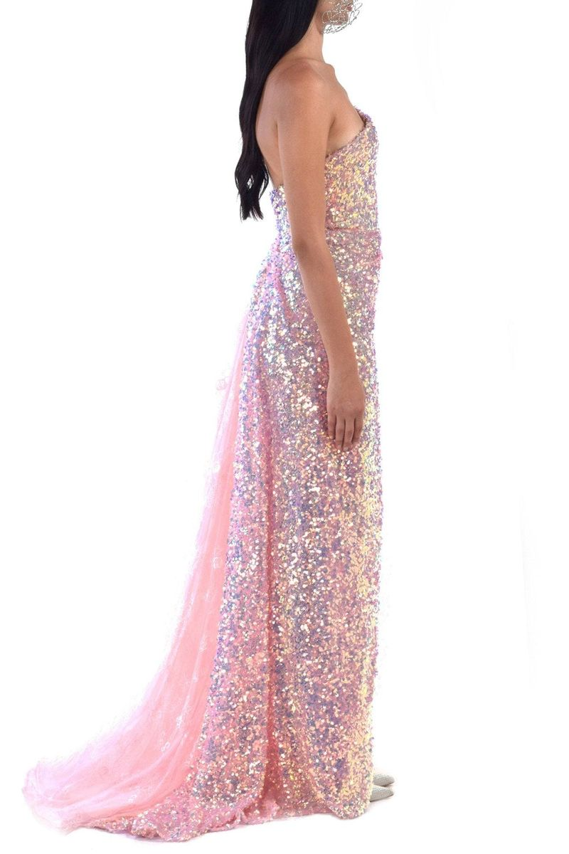 Long Light Pink Sequined Dress With Lace Borders - BYTRIBUTE
