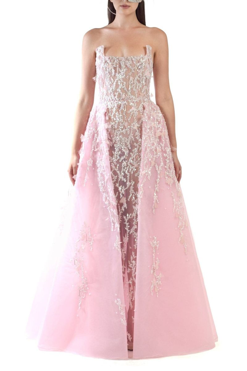 Light Pink Embroidered Tulle Dress