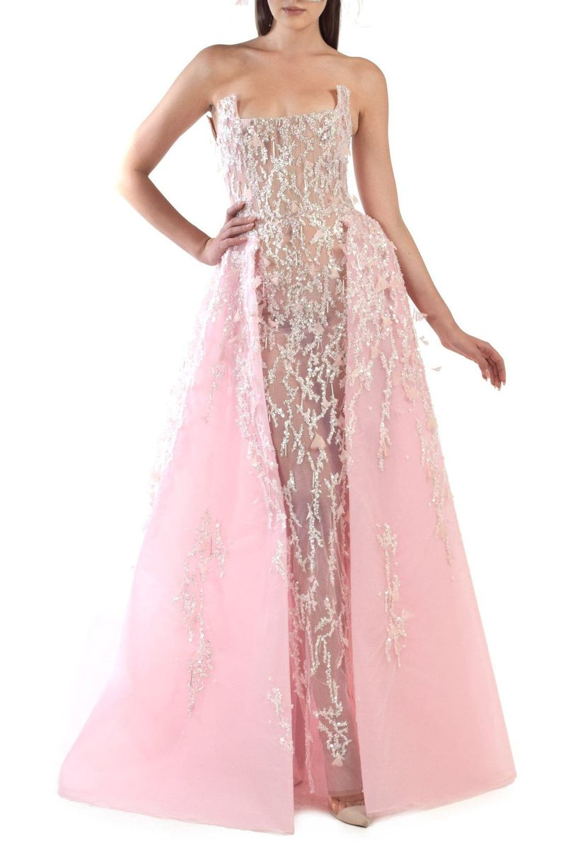 Light Pink Embroidered Tulle Dress - BYTRIBUTE